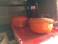 Le CREUSET casserole dishes. In ORANGE