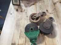 Antique wood and metal pulleys