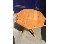 Wooden Pine Side Table Size Diameter 18in Height 20in. Would look great painted...