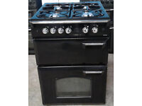 Y179 black leisure 60cm double oven gas cooker comes with warranty can be delivered or collected