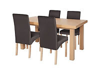 Cosgrove Ext Oak Stain Dining Table - 4 Charcoal Chairs.