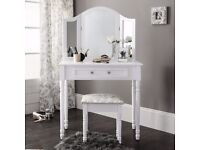 White Dressing Table, Mirror & Stool Shabby Chic - NEW