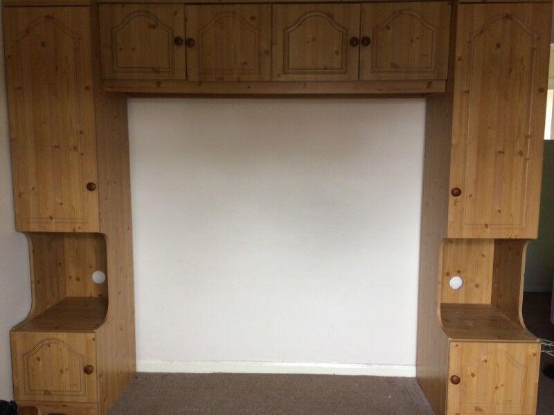 Overhead storage unit/wardrobe + pine chest of drawers