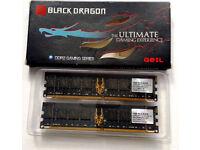 RAM DDR2 Memory 1GB x 2 GeIL Black Dragon PC2-6400 800MHz