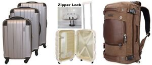 Extra Durable 3-Piece Luggage Set / Canvas Leather Travel Duffel