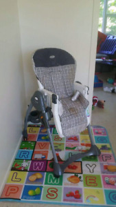 High chair.  Winnie the Pooh jumperroo and blue carseat for sale