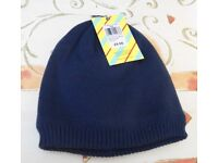 John Lewis Chunky Knit Beanie Hat. Navy. Sizes: S-M, & M-L