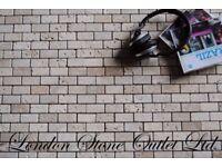 Light & Noce Tumbled Travertine Brick Mosaics