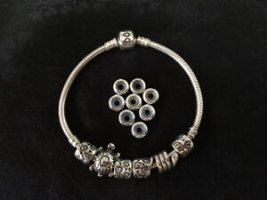 Pandora bracelet, charms & anti-tarnish jewelry box