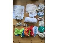 14 Reusable nappies - various brands, clean and washed - big collection of liners also in bundle
