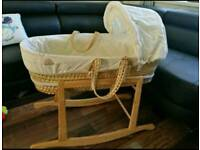 Moses Basket, with Wooden Rocking Base £10 ONO