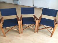 3 Foldaway director chairs in mint condition. Perfect for inside/outside/camping use. Like new!