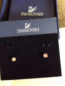 SOLD PPU pink stud earrings Swarovski new in package