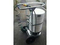 Portable water tank pressurised refillable water canister and Cart gardening hose weed killer