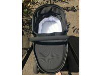 iCandy double peach blossom jet black with maxi cosi car seat and base + extras