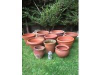 Vintage Terracotta Garden Plant Pots x 10