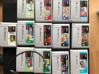 Super Nintendo with 13 games