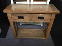 Oak console table & mirror