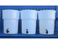 Three 20 litre plastic Brewing Bins with Taps Can also be used for dispensing cold drinks.