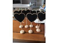 7 x Table number chalk boards