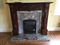 Vision V350B Gas fire, marble hearth and wooden surround