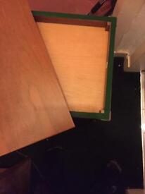 Folding table opens cloth lined shelf wheels drawer