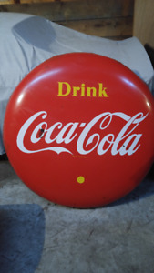 "1950s Vintage 48"" Button Coke Sign Up For Auction!"