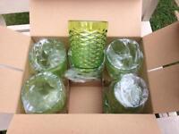 New green plastic cups