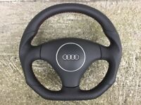 AUDI A3 S3 A4 S4 B6 A6 S6 RS6 C5 A8 TT NEW FLAT BOTTOM CUSTOM MADE STEERING WHEEL