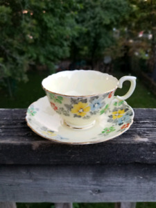 CROWN STAFFORDSHIRE Hand Painted Tea Cup and Saucer
