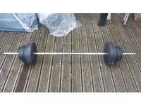 BARBELL AND VINYL WEIGHTS TOTALLING 30 KG
