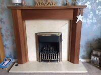Gas fire, wood surround & marble back & base