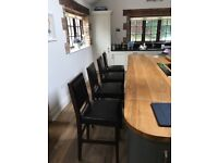 4 x Leather Kitchen Stools Walnut & Brown with padded backrest - immaculate