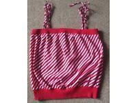 Red & White Diagonal Stripe Top
