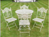 Shabby French Country Chic Cream Metal garden table 4 chairs delivery available