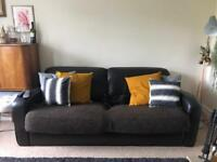 3 or 4 person brown leather sofa