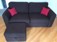 2 identical, brown, 3 seater sofas and a leg rest