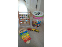 Toys Wooden Alphabet and Building Blocks and 3-piece train set and Wooden Xylophone