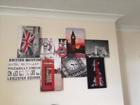 Five large London/USA canvas prints (one shown in main image) £5 each/£20 the lot
