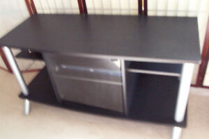 "TV stand, black, 42"" wide, 19"" deep and 24"" high, excellent"