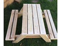 New Children's handmade picnic bench treated timber