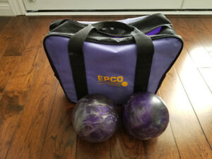 Set of 5 Pin Bowling Balls and Bag