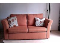 Orange Two Seater Sofa Bed Excellent Condition