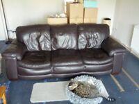 Free ! Brown Leather Sofa