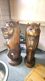 Solid wood lions