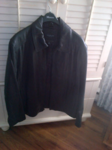Men's New Marc New York Black Leather Jacket  (XL-2XL)