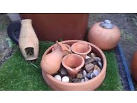 Large Terracotta Jug Garden Feature / Oil Burner And A Weather Worn Pot