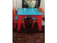Elc wooden table and two chairs as new
