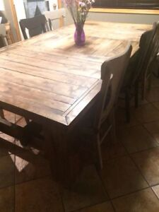 Large Reclaimed wood table and chairs