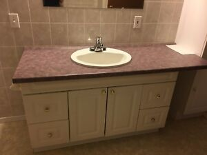 Complete bathroom assembly including countertop